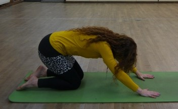 Float arms down to mat as you exhale