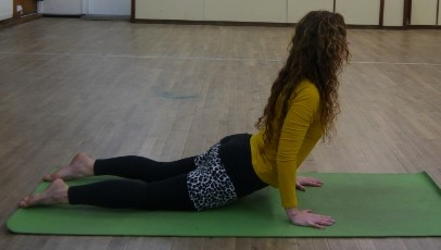 draw the body weight through the arms slowly. Pelvis is off the floor, you are supporting your body weight. Breathe deeply, be relaxed.